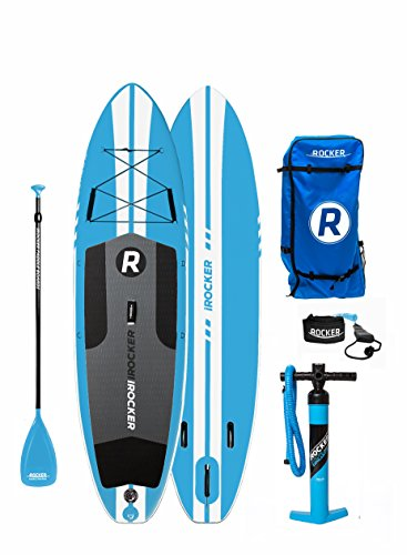 iROCKER ALL-AROUND Inflatable Stand Up Paddle Board 10' Long 32' Wide 6' Thick SUP Package ('18 Blue)