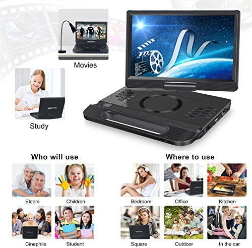 """FANGOR 13.3 Inch Portable Bluray Player with 12"""" HD Swivel Screen, 5 Hours Rechargeable Battery and Remote Control, HDMI Out/AV in, Multi-Media Player, USB/SD Card, Last Memory, Region Free 17"""