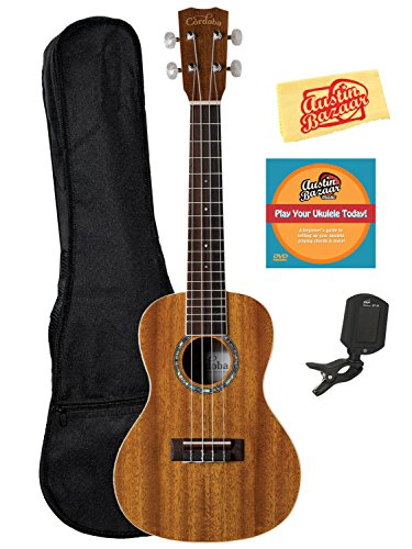 Cordoba 15CM Concert Ukulele Bundle with Gig Bag, Clip-On Tuner, Austin Bazaar Instructional DVD, and Polishing Cloth