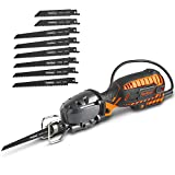 """VonHaus 5 Amp Compact Reciprocating Saw Kit Electric Saw with 8 Blades, ½"""" Stroke Length, Max. Cutting Capacity 4½"""", 3000SPM and 16ft Cable, For DIYWood Cutting & Metal Cutting"""