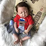 Binxing Toys Reborn Baby Dolls Full Bodies Silicone Can Bath Cute Newborn Boy Weighted Body Realistic Reborn Dolls18 Inch Beautiful Outfits Set Great Birthday Gifts for School Children (1630-45)