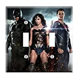 Dual Toggle Wall Switch Cover Plate Decor Wallplate - Superheroes Batman Superman Wonder Women