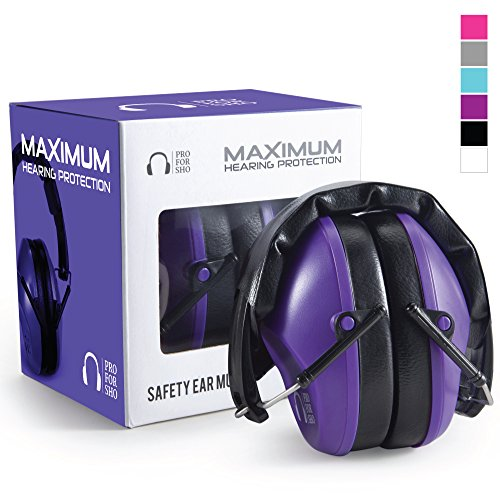 Pro For Sho 34dB Shooting Ear Protection - Special Designed Ear Muffs Lighter Weight & Maximum Hearing Protection - Standard Size, Purple