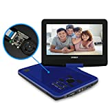 SYNAGY 10.1' Portable DVD Player CD Player with Swivel Screen Remote Control Rechargeable Battery Car Charger Wall Charger, Personal DVD Player (Blue)