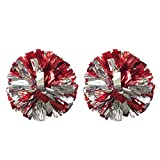 Regpre 14' Pom Poms Cheerleading Red+Siliver Metallic Foil & Plastic Ring for Cheering Squad Pack of 2