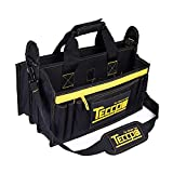 Tool Bag, TECCPO Heavy Duty Bag, 3 Max Extended Space and 9+7 pockets, with Wear Resistant Rubber Base, Adjustable Shoulder Strap, Rubber Handles-THTB02B