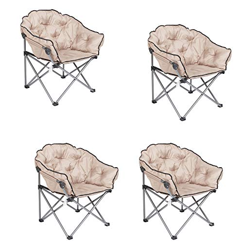 Mac Sports Foldable Padded Outdoor Club Camping Chair with Carry Bag, Beige (4 Pack)