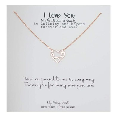 Last Minute Valentine's Day Prime Eligible Gifts - Geometric Heart Necklace