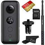Insta360 ONE X 360 Camera with 5.7K 4K 3K Video and 18MP Photos - Bundle Includes 128GB Memory Card, Invisible Selfie Stick and Mount Adapter for GoPro Ecosystem (4 Items)
