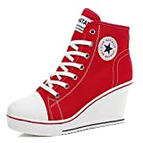 Padcod High Heel Sneaker, Canvas Lace Up Fashion Shoes High Top Wedges Casual Sneaker (5.5 B(M) US/36EU, Red)