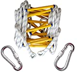 IGPG Emergency fire Rope Ladder with Hook fire Escape Escape Rescue Climbing Down The Ladder Nylon Ladder Aerial Work, Rapid Deployment and Easy to use, Easy to Store,15M