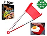 2 in 1 Non-Stick Silicone Kitchen Spatula Tong. Multi Purpose Food Cooking & Serving Utensil with Heavy Duty Stainless Steel Frame. Heat Resistant, BPA Free & Dishwasher Safe Gadget. Size 12 INCH