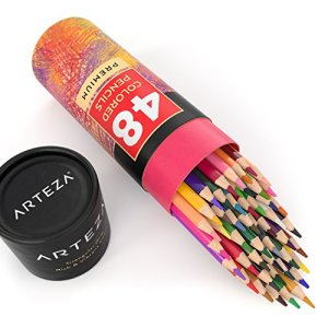 Arteza Colored Pencils, Soft Core, Triangular shaped, Pre sharpened (Pack of 48)