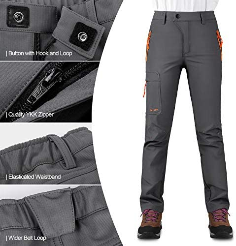 KUTOOK Women's Thermal Softshell Hiking Pants Windproof Polar Fleece Lined Cargo Pants for Winter Outdoor Sports 4