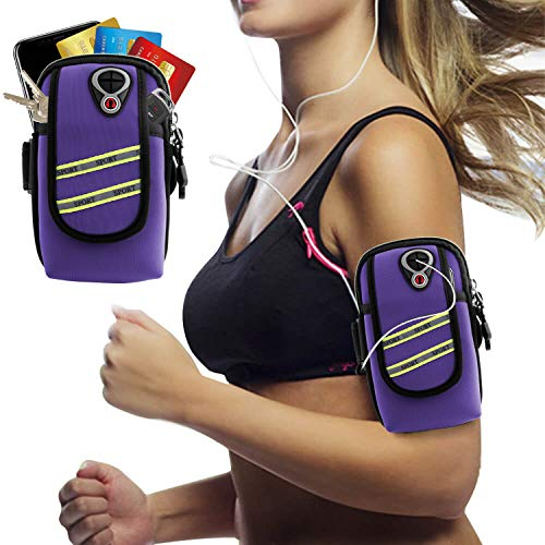 Innens Arm Bag, Universal Sports Fitness Armband with Earphone Jack Designed for iPhone Xs Max XR X 8 7 6 Plus, Galaxy S10 S9 Plus S10E S9 S8 S7 Edge S6 Edge- Running, Gym, Outdoor, Workout (B-Purple)