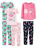 Simple Joys by Carter's Girls' Toddler 6-Piece Snug Fit Cotton Pajama Set, flamingo/strawberries/Llama, 2T