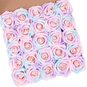 N&T NIETING Artificial Flowers Roses, 25pcs Real Touch Unicorn Foam Rose with Stem for Baby Shower, Cake Topper, Birthday Party Decoration, Wedding Bouquets Centerpieces, Home Display (Series A) 51dSRgFxsDL