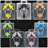 Silicone Swimming Earplugs For Kids - 7 Swimming Ear Plugs And Nose Clip Sets, Waterproof Silica Gel Ear & Nose Protector Block Water Soft & Comfortable For Children Girls Boys Babies (Mixed, 7pcs)