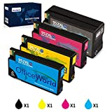 Office World Remanufactured Replacement for HP 952 952XL Ink Cartridges, Compatible with HP Officejet Pro 8710 8720 8702 8715 8740 7740 7720 8730 8210 8216 8210 (1 Black, 1 Cyan, 1 Magenta, 1 Yellow)