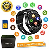 Smart Watch SN08 Smart Watches Round with Touch Screen Camera SIM Card Slot Sport Fitness Tracker Smartwatch Compatible with Android Phones Samsung Huawei Xiaomi Sony iPhone Women Men Kids (Black)
