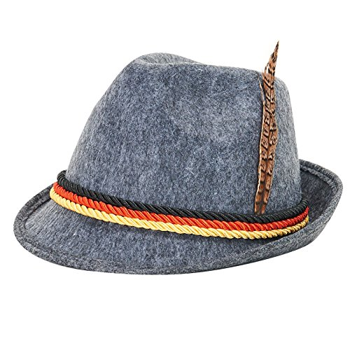 German Alpine Hat for Adults, Gray, One Size