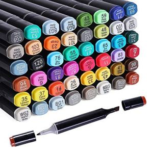 48 Colors Alcohol Dual Tip Art Markers, Permanent Marker Pen Highlighter, Suitable for Beginners Adult Children Coloring…