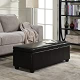 Belleze 48' inch Long Rectangular Upholstered Storage Elegant Ottoman Bench, Black