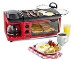 NOSTALGIA BSET300RETRORED RETRO 3-IN-1 FAMILY SIZE Breakfast Station