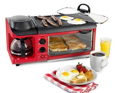 Nostalgia-BSET300RETRORED-Retro-3-in-1-Family-Size-Breakfast-Station-Red