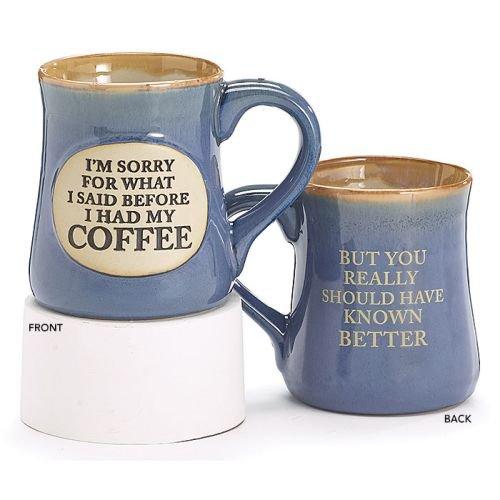 Burton & Burton I'm Sorry for What I Said Hand Painted Coffee Mug, 18 oz., Blue
