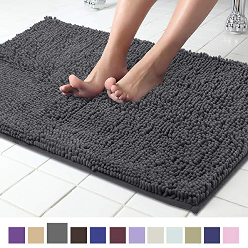 ITSOFT Non-Slip Shaggy Chenille Soft Microfibers Bathroom Rug with Water Absorbent, Machine Washable, 21 x 34 Inch Charcoalgray