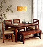 Sarswati Furniture Sheesham Wood Dining Table 6 Seater   Wooden Dinning Room Furniture   4 Chair & 2 Seater Bench with Cushions   1 Table   Balcony Dining Set   Honey Finish