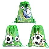 CIEOVO 12 Pack Soccer Party Favor Goodie Bags, Treat Gift Drawstring Bag Football Backpack Birthday Party Decoration Supplies for Kids Boys Girls Baby Shower Birthday Party