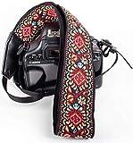 Red Vintage Camera Shoulder Strap Belt for All DSLR Camera – Vibrant Design Universal DSLR Strap, Embroidered Vintage Multi Color Neck Belt for Canon, Nikon, Sony,Pentax, Fujifilm, and Digital Camera