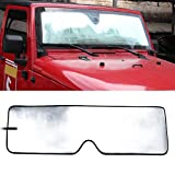 Front Windshield Sunshade Sun shade for 2007-2017 Jeep Wrangler JK MINGLI Heat Shield Windshield Custom-fit Sunshade Sun Visor Mat