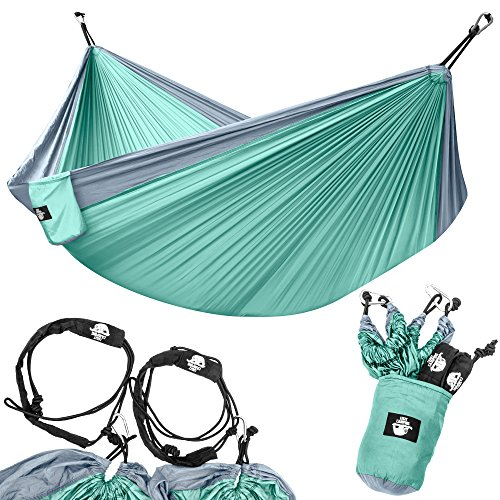 Legit Camping - Double Hammock - Lightweight Parachute Portable Hammocks for Hiking, Travel, Backpacking, Beach, Yard Gear Includes Nylon Straps & Steel Carabiners (Graphite/Seagreen)