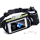 BEYONDY Waist Pack Water Bottle Belt, Running Water Bottle Holder Waterproof Multifunctional Sporting Belt w Touchscreen Zipper Pockets for iPhone Samsung Phones,for Men(Style 1)
