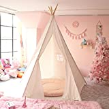 CO-Z Teepee Play Tent Foldable for Kids with Banners - Super Large, for at Least 2 Children - CPST Certificated (5 Poles - 85 Inches Height - Tarp Bottom)