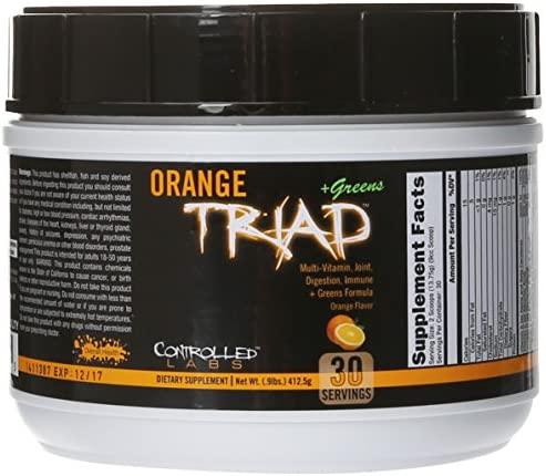 Controlled Labs Orange Triad Plus Greens for Men and Women, 30 Servings Iron Free Sports Supplement for Overall Health, Multivitamin, Digestion, Immune System, and Joint Health 1