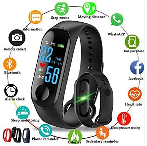 BEATSYNIZER M3 Smart Band Fitness Tracker Watch Heart Rate with Activity Tracker Waterproof Body Functions Like Steps Counter, Calorie Counter, Blood Pressure, Heart Rate Monitor LED Touchscreen