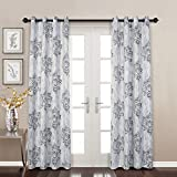 MYSKY HOME Dahlia Flower Damask Style Fashion Design Print Thermal Insulated Blackout Curtain with Grommet Top for Dining Room, 52 x 95 inch, Blue - 1 Panel