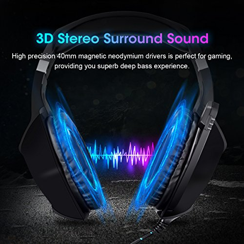 Gaming Headset, ELEGIANT PS4 Headset PC Headphones Over Ear Headset with LED lights,Noise Cancelling Mic&Volume Control for PS4 Pro/PS4 PC Laptop Tablet Mac/Xbox one(3.5mm Jack)