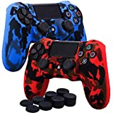 YoRHa Water Transfer Printing Camouflage Silicone Cover Skin Case for Sony PS4/slim/Pro Dualshock 4 controller x 2(red+blue) With Pro thumb grips x 8