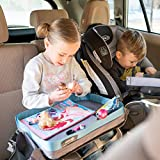 Kids E-Z Travel Lap Desk Tray by Modfamily-Universal Fit for Car Seat, Stroller & Airplane - Organized Access to Drawing, Snacks, and Activities. Includes Bonus Printable Travel Games (Blue)