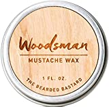 Woodsman Mustache Wax  1 Ounce Tin of Strong All Day Hold Mustache Wax,  with Beeswax, Lanolin and...