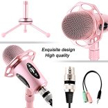 Professional-Condenser-Microphone-Venoro-Plug-Play-Home-Studio-Condenser-Microphone-with-Tripod-for-PC-Computer-Phone-for-Studio-Recording-Skype-Games-Podcast-Broadcasting-Rose-Gold-