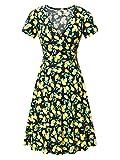 MSBASIC Wrap Dress, Ladies Casual V Neck A Line Polka Dot Short Sleeve Midi Dress Medium Floral-3