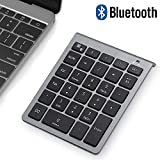 Bluetooth Numeric Keypad, Wireless Number Pad, Acedada Slim Portable 28-Keys : Financial Accounting Data Entry External Numpad 10 Key for Laptop, Tablets, Surface Pro, Windows, Android, etc - Grey