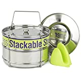 Two Tier Steamer Insert Stackable Food Design | Compatible with Instant Pot Steamer Set Includes 6, 8 Quart Pots, Sling, Mix 'n Match Lids | Stainless Steel Steamer Insert for Veggies, Rice, Pasta,