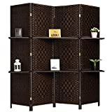 Product review for RHF 6 ft Tall (Extra Wide) Diamond Weave Fiber Room Divider, Partition Wall, With 2 Display Shelves - DarkMocha - 4 Panels 2 Shelves